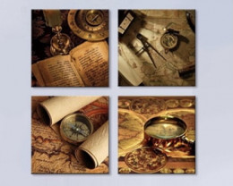Set  4 Canvas  Treasure Map with Compass on ancient map world treasures PR
