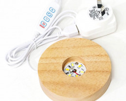 USB LED Light Crystal Display Base with 220-240V Adapter – Large