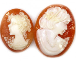Two Second Life Agate Cameo ,hand carved PPP1475