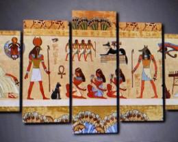 Ancient Egypt Wall Art Canvas Retro  5pcs Egypt Prints PR 5