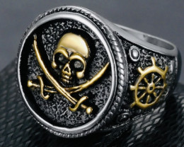 Pirate Ring ,Stainless Steel Sword Gold  Size N code AHA 1594