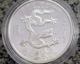2012 Year of The Dragon  1 Oz  pure 99.9% silver  APMEX