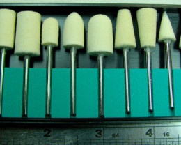12 WOOL ASSORTED SIZES POLISHING HEADS FOR STONE WORK HSF