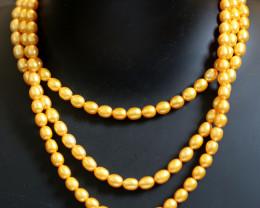 Three  Golden Yellow  Pearl strands GOGO 1850