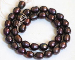Oval Peacock Freshwater Pearl strand GOGO 1857