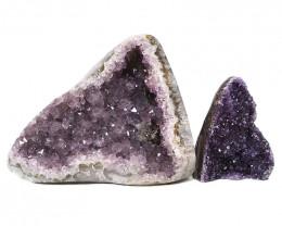 2.96kg Amethyst Polished Crystal Geode Specimen Set 2 Pieces DN405