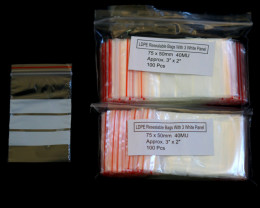 200 Pieces 3 x 2 inch Resealable Bags With 3 White Panel for gem stones