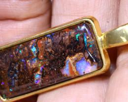 22.80CTS- KOROIT OPAL PENDANT GOLD PLATED  AO-509 australiaoutbackopal