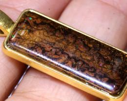 23.70CTS- KOROIT OPAL PENDANT GOLD PLATED  AO-516 australiaoutbackopal