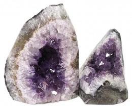 2.52kg Amethyst Polished Crystal Geode Specimen Set 2 Pieces DN423