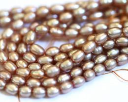 Three Golden Beige Fresh Water Pearl strands GOGO 1890