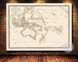Oceania Pacific  A4 size Austalia  ,vintage canvas map  codePR6