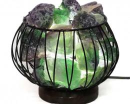 Natural Rainbow Fluorite Rough Amore Lamp - LED White Bulb