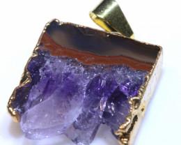 30-Cts Uruguay Amethyst Stalactite Pendant Rja-1668  rarejewelry
