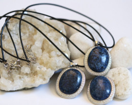 Three Blue  Brazil Agate on black necklace  code CH 1175