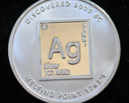 Silver periodic Table  .999 Pure Fractional 1/10 OZ Bullion round