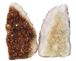 1.80kg Citrine Crystal Geode Specimen Set 2 Pieces DN441
