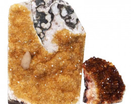 2.13kg Citrine Crystal Geode Specimen Set 2 Pieces DN443