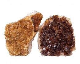 1.60kg Citrine Crystal Geode Specimen Set 2 Pieces DN444