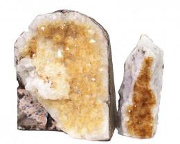1.50kg Citrine Crystal Geode Specimen Set 2 Pieces DN445