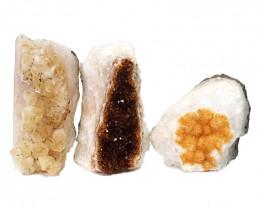 1.67kg Citrine Crystal Geode Specimen Set 3 Pieces DN446