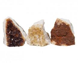 1.85kg Citrine Crystal Geode Specimen Set 3 Pieces DN448