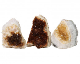 1.66kg Citrine Crystal Geode Specimen Set 3 Pieces DN450