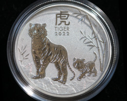 Lunar  Year Of The Tiger  1/2 Ounce  2022     99.9% pure silver coin