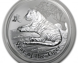 5 Ounces  Year Of The Toger 2010 99.9% Pure Silver