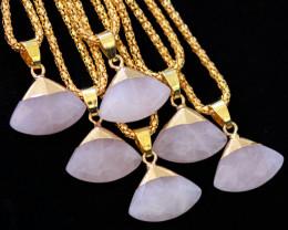6 Stylish Faceted  Rose Quartz Triangular Pendants on Snake Chain AHA 1611