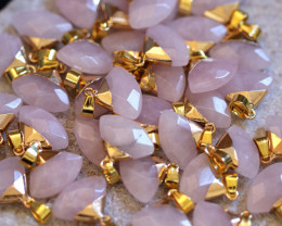 6 Stylish Faceted  Rose Quartz Triangular Pendants on Snake Chain AHA 1612