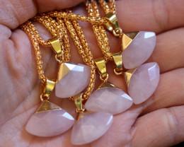 6 Stylish Faceted  Rose Quartz Triangular Pendants on Snake Chain AHA 1613