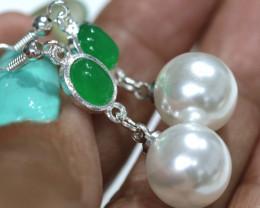 21.80 cts  Quartz and Imitation Pearl Earrings   RJA-1677   Rarejewelry