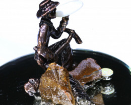 401CTS- OPAL MINER STATUE WITH OPALS  AO-611 australiaoutbackopal