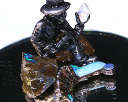 341CTS- OPAL MINER STATUE WITH OPALS  AO-612 australiaoutbackopal