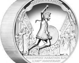 Pheidippides Marathon Run 490 BC One ounce Pure 99.9% silver