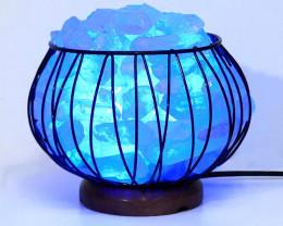 Clear Quartz Crystal Terminated Point Rough  Amore Lamp - Blue LED Bulb