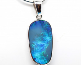 925 ST/ SILVER RHODIUM PLATED OPAL DOUBLET PENDANT [TP96]