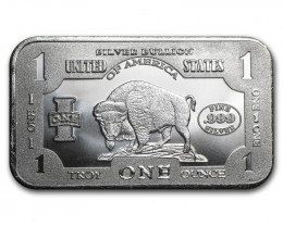 USA  Sealed 1901 Bison Bar 99.9% Pure Silver Onw Ounce   Ampex