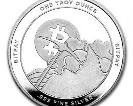 Bitcoin BitPay One Ounce  99.9% pure silver coin Apmex