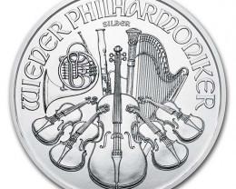 2021 Austria 1 oz Silver Philharmonic  99.9% pure silver coin