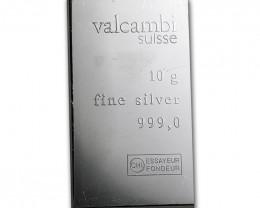 10 Gram Secondary Europen 99.9% pure silver Bar