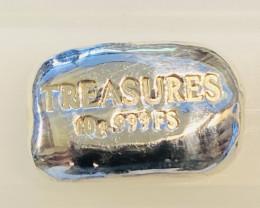 10 Grams Hand Poured Treasures Silver Bar 999 Pure Silver