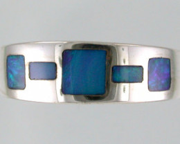 Opal Inlay Sterling Silver Ring Size 7  SS442