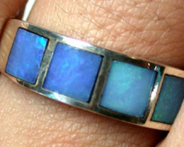 Opal Inlay Sterling Silver Ring Size 7  SS461