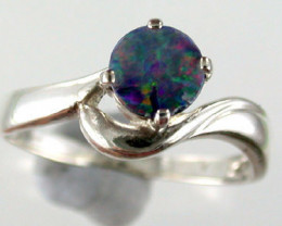 Opal Doublet Sterling Silver Ring Size 6 1/2  SS523