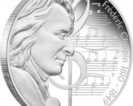 Great Composers 1oz Silver Proof Coin Series Frédéric Chopin 1810 - 1849