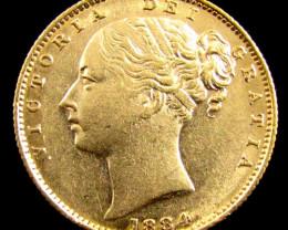 GOLD COIN SOVERIGN 1884 SYD SHEILD CO 829