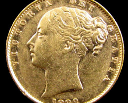GOLD COIN SOVERIGN 1882 MELBOURNE SHIELD CO 835