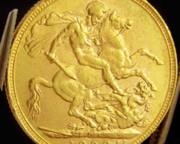 P1906 Full Gold Sovereign EDWARD VII CO2326  a